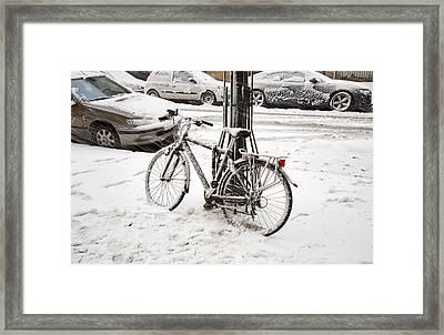 Paris In Snow Framed Print