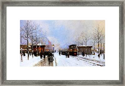 Paris In Winter Framed Print by Luigi Loir