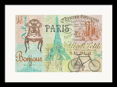 French Wine Bottles Digital Art Framed Prints