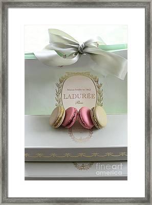 Paris Laduree Mint Box Of Macarons - Paris French Laduree Macarons  Framed Print by Kathy Fornal