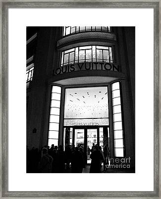 Paris Louis Vuitton Boutique - Louis Vuitton Paris Black And White Art Deco Framed Print by Kathy Fornal