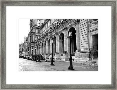 Paris Louvre Black And White Architecture - Louvre Lantern Lights Framed Print
