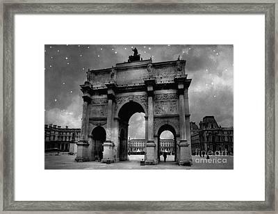 Framed Print featuring the photograph Paris Louvre Entrance Arc De Triomphe Architecture - Paris Black White Starry Night Monuments by Kathy Fornal