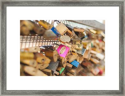 Paris - Love Locks Bridge Framed Print by Marcus Karlsson Sall