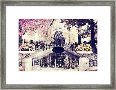 Paris Luxembourg Gardens Fall Autumn Watercolor Painting  Framed Print by Kathy Fornal