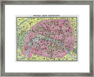 Paris Map Ca 1920 Framed Print