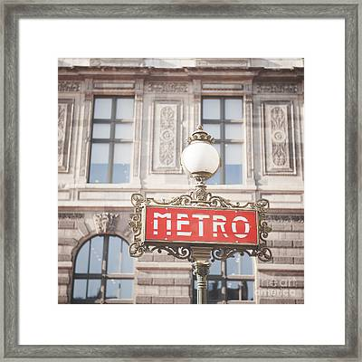 Paris Metro Sign Architecture Framed Print by Ivy Ho