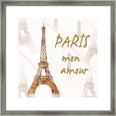 Paris Mon Amour Mixed Media Framed Print by Georgeta Blanaru