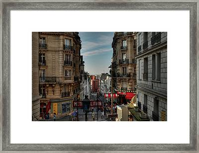 Framed Print featuring the photograph Paris - Montmartre Streetscape 004 by Lance Vaughn