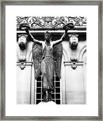 Paris Museum Carnavalet Victory Angel Statue - Paris Hotel Carnavalet Courtyard Angel Victory Statue Framed Print by Kathy Fornal