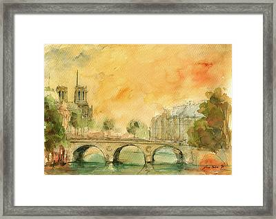 Paris Notre Dame Framed Print by Juan  Bosco