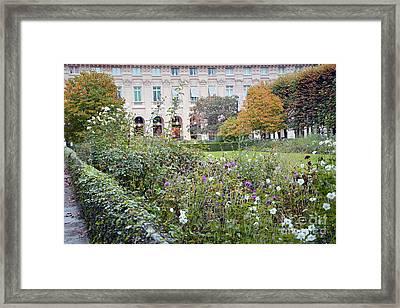 Framed Print featuring the photograph Paris Palais Royal Gardens - Paris Autumn Fall Gardens Palais Royal Rose Garden - Paris In Bloom by Kathy Fornal