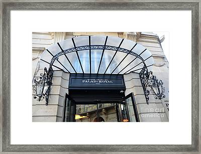Paris Palais Royal Hotel Door - Paris Art Nouveau Hotel Palais Royal Entrance Architecture Framed Print by Kathy Fornal