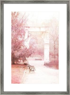 Paris Park Monceau Gardens Landscape - Dreamy Romantic Paris Pink Park Bench Park Monceau Framed Print by Kathy Fornal
