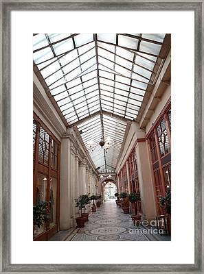 Paris Galerie Vivienne - Paris Glass Dome Street Architecture - Galerie Vivienne  Framed Print by Kathy Fornal