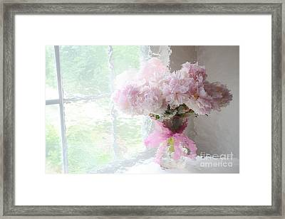 Paris Peonies Shabby Chic Dreamy Pink Peonies Romantic Cottage Chic Paris Impressionistic Peonies  Framed Print by Kathy Fornal