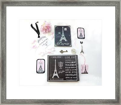 Framed Print featuring the photograph Paris Pink Black French Script Wall Decor Art, Paris Print Collection  - Parisian Pink Black Decor   by Kathy Fornal