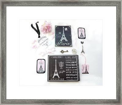 Paris Pink Black French Script Wall Decor Art, Paris Print Collection  - Parisian Pink Black Decor   Framed Print