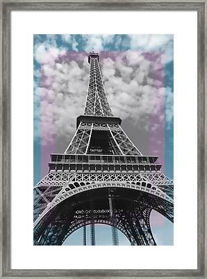 Paris Pink Blue Framed Print