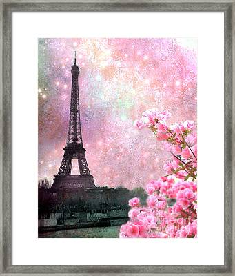 Paris Pink Dreamy Eiffel Tower Romantic Cherry Blossoms  - Paris Eiffel Tower Pink Spring Blossoms Framed Print by Kathy Fornal