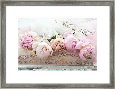 Paris Pink Peonies Shabby Chic Dreamy Pink Peonies Romantic Cottage Chic Paris Peonies Floral Art Framed Print by Kathy Fornal