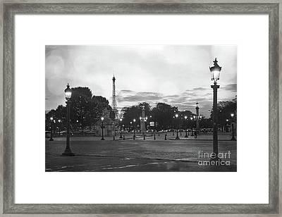 Paris Place De La Concorde Lights - Paris Black And White Photography Night Lights  Framed Print