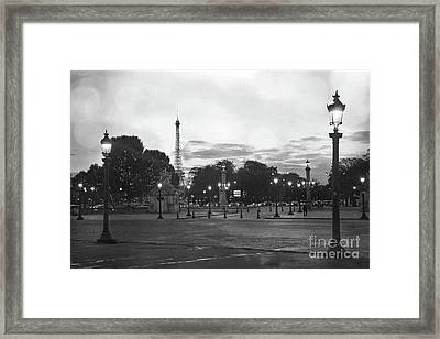 Paris Place De La Concorde Plaza Night Lanterns Street Lamps - Black And White Paris Street Lights Framed Print