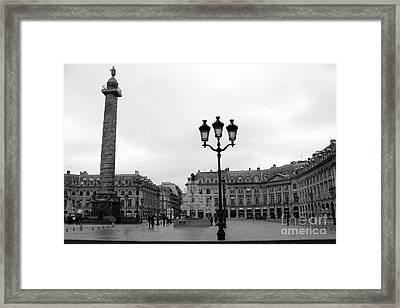 Paris Place Vendome Plaza Street Lanterns Landmark - Paris Black White Place Vendome Architecture Framed Print by Kathy Fornal