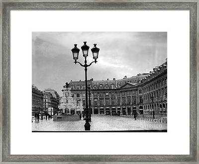 Paris Place Vendome Street Lanterns - Paris Black White Architecture Street Lamps Shopping District Framed Print by Kathy Fornal