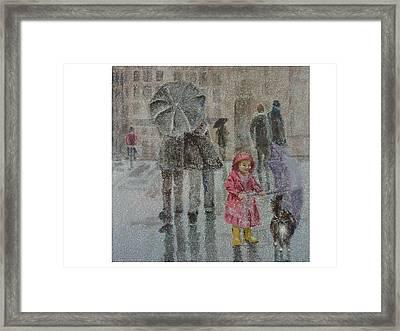 Paris Purrcipitation Framed Print