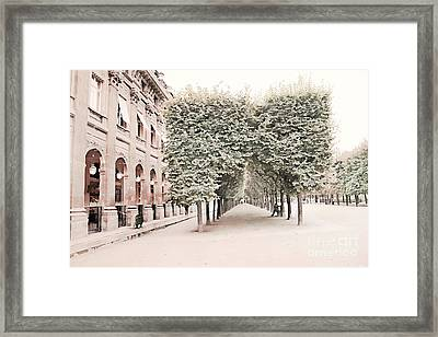 Paris Romantic Palais Royal Garden - Paris Garden Architecture Row Of Trees Watercolor Decor Framed Print by Kathy Fornal