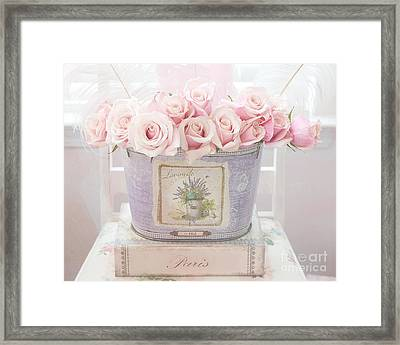Paris Romantic Roses Pink Pastel Roses - Romantic Shabby Chic Pink Roses Lavender Decor Framed Print by Kathy Fornal