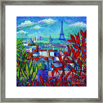 Paris Rooftops - View From Printemps Terrace   Framed Print by Mona Edulesco