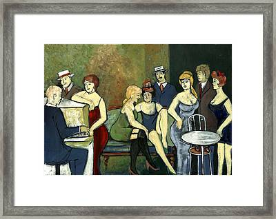 Paris Salon Scene Women In Seductive Cloths Impressionistic Piano Hats Table Chair Mustache  Framed Print