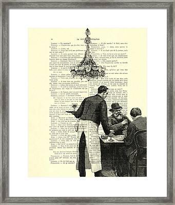 Paris Scene Black And White Framed Print