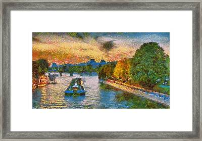 Paris Seine River At Sunset Framed Print by Aaron Stokes
