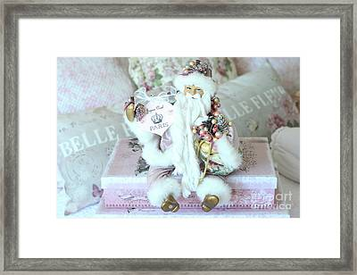 Paris Shabby Chic Pink And White Santa - Joyeux Noel - Shabby Chic Santa Claus Prints Home Decor Framed Print