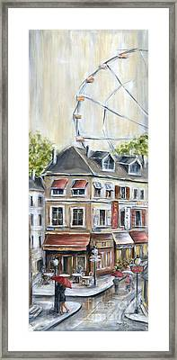 Paris Shops And Ferris Wheel  Framed Print