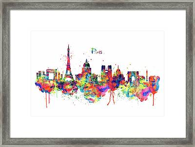 Framed Print featuring the mixed media Paris Skyline 2 by Marian Voicu