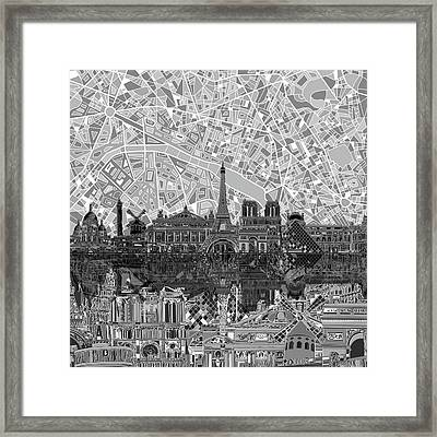 Paris Skyline Black And White Framed Print by Bekim Art