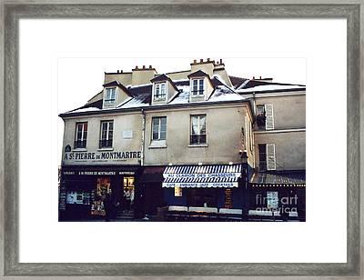 Paris St. Pierre Montmartre Cafe Restaurant Pub Photos - Paris Winter Snow In Montmartre District  Framed Print by Kathy Fornal