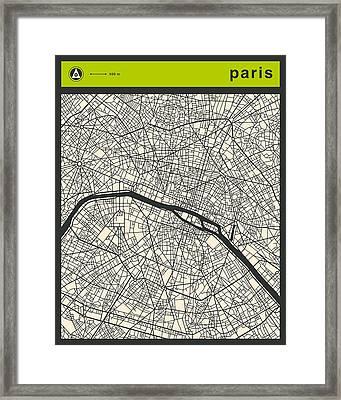 Paris Street Map Framed Print by Jazzberry Blue