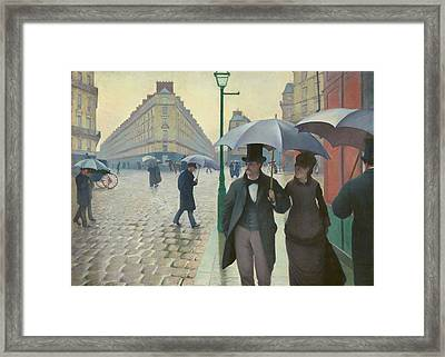 Paris Street Rainy Day By Gustave Caillebotte 1877 Framed Print