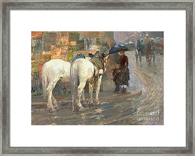 Paris Street Scene Framed Print by Childe Hassam