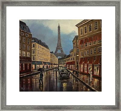 Paris Street Sciene At Night Framed Print by Radoslav Nedelchev