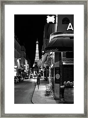 Framed Print featuring the photograph Paris Streets By Night by Melanie Alexandra Price