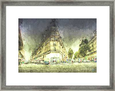 Framed Print featuring the mixed media Paris Streets by Jim  Hatch
