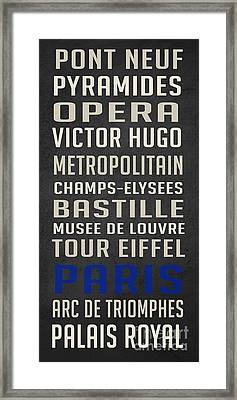 Paris Subway Stations Vintage Framed Print by Edward Fielding