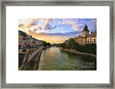 Paris The Seine River C Framed Print by Chuck Kuhn
