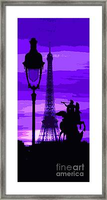 Paris Tour Eiffel Violet Framed Print